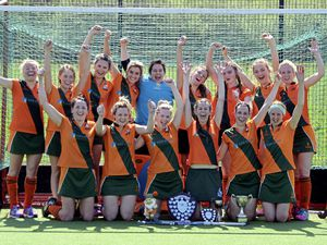 The victorious Indies Ladies. Back row, left to right: Nix Petit, Megan Renouf, Tasha Symes, Natalie Finlayson, Emma Atkinson, Maeve Tully, Lauren Ewins, Harriet Huxtable, Donna Le Tissier. Front: Lizzi Stonebridge, Chesi McLuskey, Izzy Gingell, Bianca Symes, Amy Sharpe, Liz Dudin. (Picture by Gareth Le Prevost, 21262773)