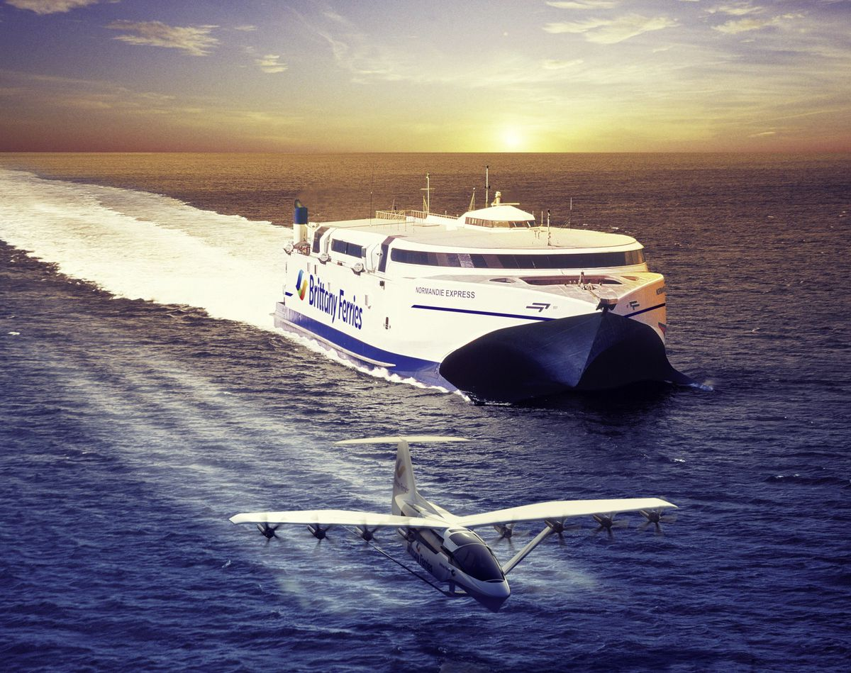 An impression of what the seaglider could look like, alongside the Normandie Express, which has since been rebranded as Condor Voyager and is being used by Condor this summer.