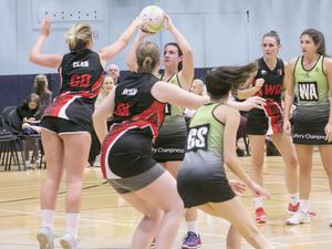Pic by Adrian Miller 17-11-19.Beau Sejour Centre .Netball - Panthers v Clan Two from the UK.. (26382225)
