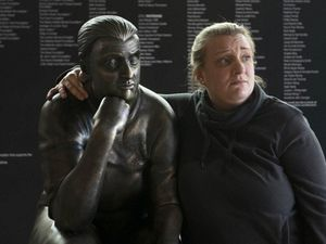 Kerry Mucklowe statue installed outside Swindon FC's stadium