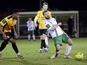 Matt Loaring, who netted GFC's first, on the ball at Three Bridges last night. (Picture by ESA Photos, 27013433)