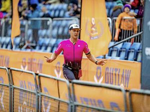 Leading Outlaw: Josh Lewis finishing the Outlaw Half in Nottingham. (29679404)