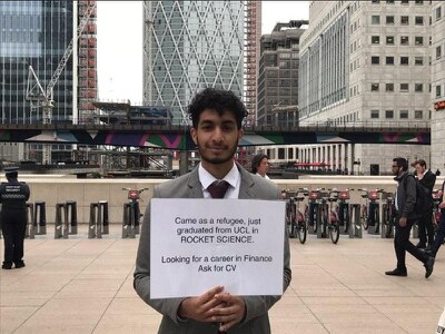 A refugee with a masters in rocket science is using a novel way to find a job