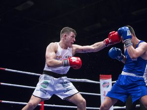 Picture By Peter Frankland. 23-02-19 Boxing Open Shw at Beau Sejour. Guernsey ABC v Home Counties. Billy Le Poullain v Ben Vaughan. (24561193)