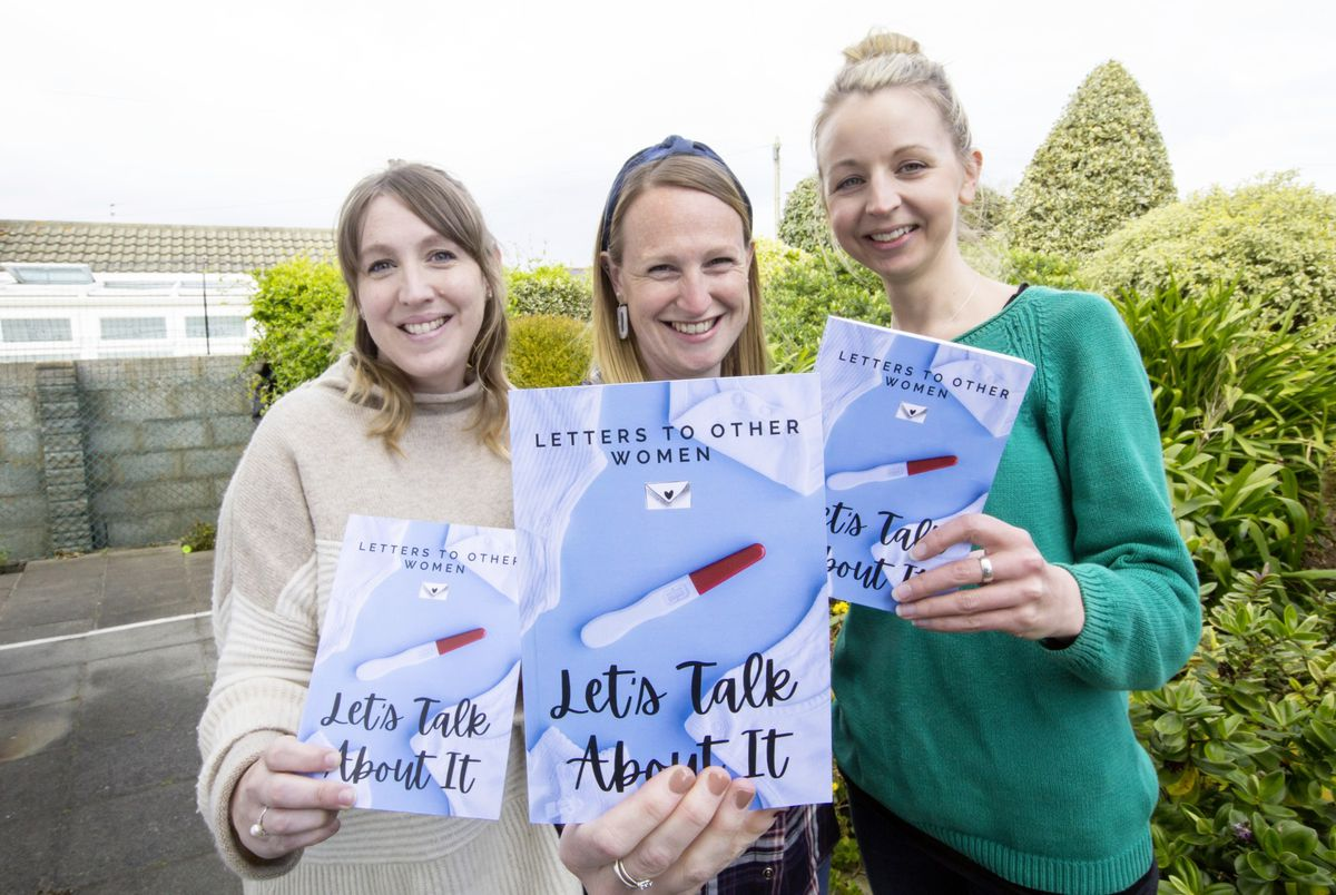Eleanor Perkins, centre, has put together a book, 'Lets Talk About It' with women's stories about infertility, miscarriage, baby loss, IVF and adoption. Pictured with her are Sophie Appelqvist, left, and Helen Young, two of the contributors to the book. (Picture by Adrian Miller, 29429534)