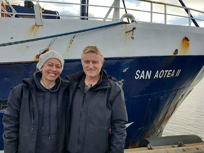Couple hitch 5,000-mile lift back home after coronavirus hits honeymoon