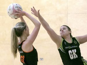 Pic by Adrian Miller 05-01-20 Netball at Les Beaucamps - Blaze B v Res IT Black. (29081552)