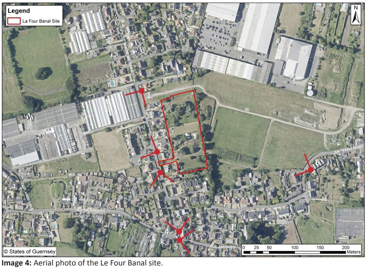 Le Four Banal, outlined in red, the site off Route Militaire for which planners have drawn up a draft development framework, which would allow up to 35 houses to be built. It is not far from sites in Pointues Rocques and Saltpans, where 279 homes could be built.