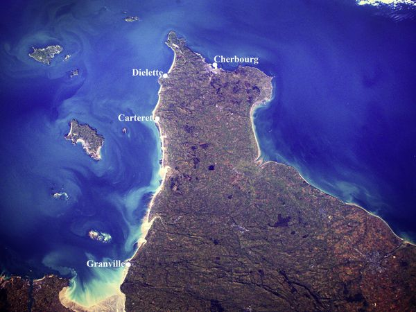 French astronaut Thomas Pesquet took this picture of the Channel Islands and the Cherbourg from the International Space Station.