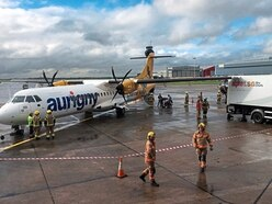 Wing of Aurigny ATR damaged in incident at Manchester