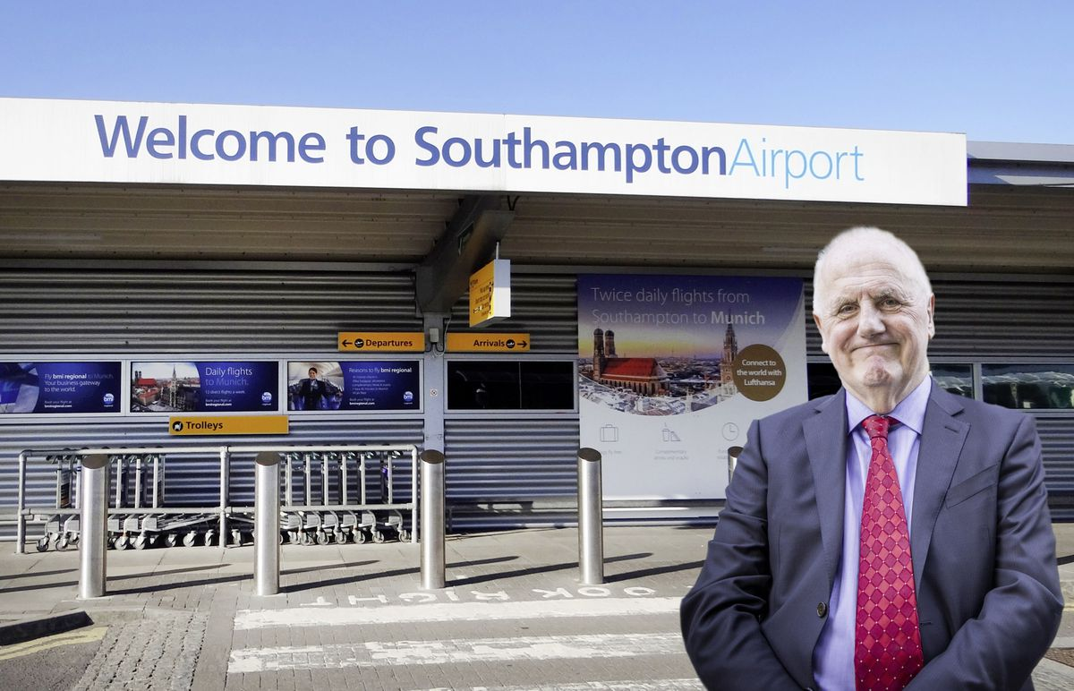 Civil Contingencies Authority chairman and chief minister Peter Ferbrache pictured with Southampton Airport. (Composite image by Sophie Rabey, 29542608)