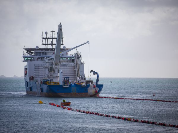 The NKT Victoria in Havelet Bay laying the new GJ1 cable to link Guernsey to Jersey and on to the European grid in 2019. The cable link is under threat due to a dispute between Jersey and France over fishing rights. (Picture by Peter Frankland, 29513520)