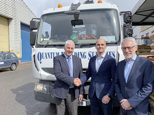 Building a new future. From Left to Right: Scott Donaldson, Quantum, Adrian Norman, Chairman of NP Group; Paul Rogers, CEO of NP Group. (24319470)