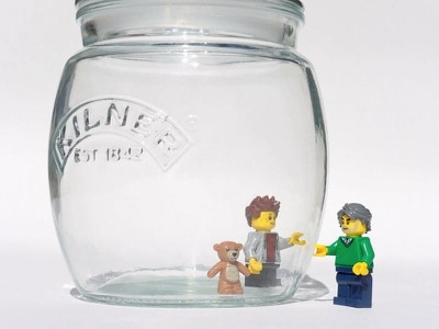 Scenes made from Lego help teach children about social distancing