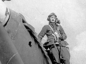 Picture supplied by Tim Osborne. Sgt Stirling was flying a Hurricane with 87 Squadron when he was forced to bale out and parachuted into Guernsey in 1941, crash landing on Lihou.. (29309863)