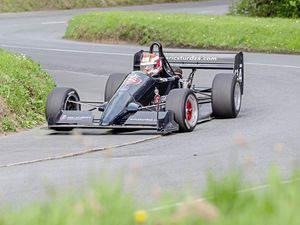 Pic supplied by Andrew Le Poidevin: 22-04-2019...Guernsey Motor Cycle & Car Club hillclimb at Le Val des Terres...Nick Saunders repainted his Eric Sturdza Reynick during the winter break.. (24474565)