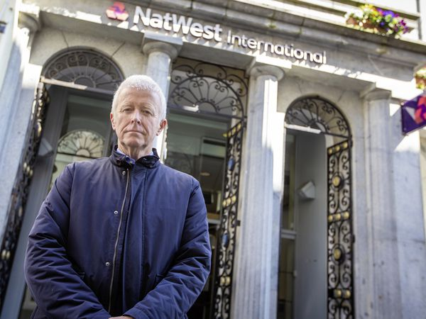 Picture By Peter Frankland. 16-04-21 Peter Rose at NatWest Bank in The High Street..Peter is the head of the association of Guernsey Charities and is not happy about a charge, now being levied by RBSI, on charity bank accounts.. (29448611)