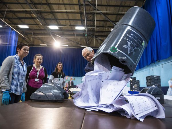 Emptying the first box of votes in the Guernsey general election in October last year. (29393511)