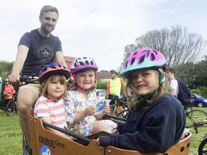 Dad Edward Mason-Smith with children Poppy, Delilah, both 5, and Leo, 4. Right, the riders under stater's orders.(Picture by Helen Bowditch, 29604378)