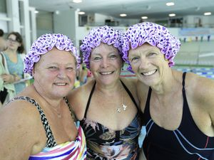 Three of the Guernsey Voluntary Service team in their splendid bathing caps. Left to right, Lynn Cleal, Pam Davey and Nicola Norman. (Pictures by Adrian Miller, 28784762)