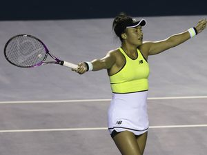 That winning feeling: Heather Watson at the moment of her victory in the final of the Mexican Open in Acapulco.