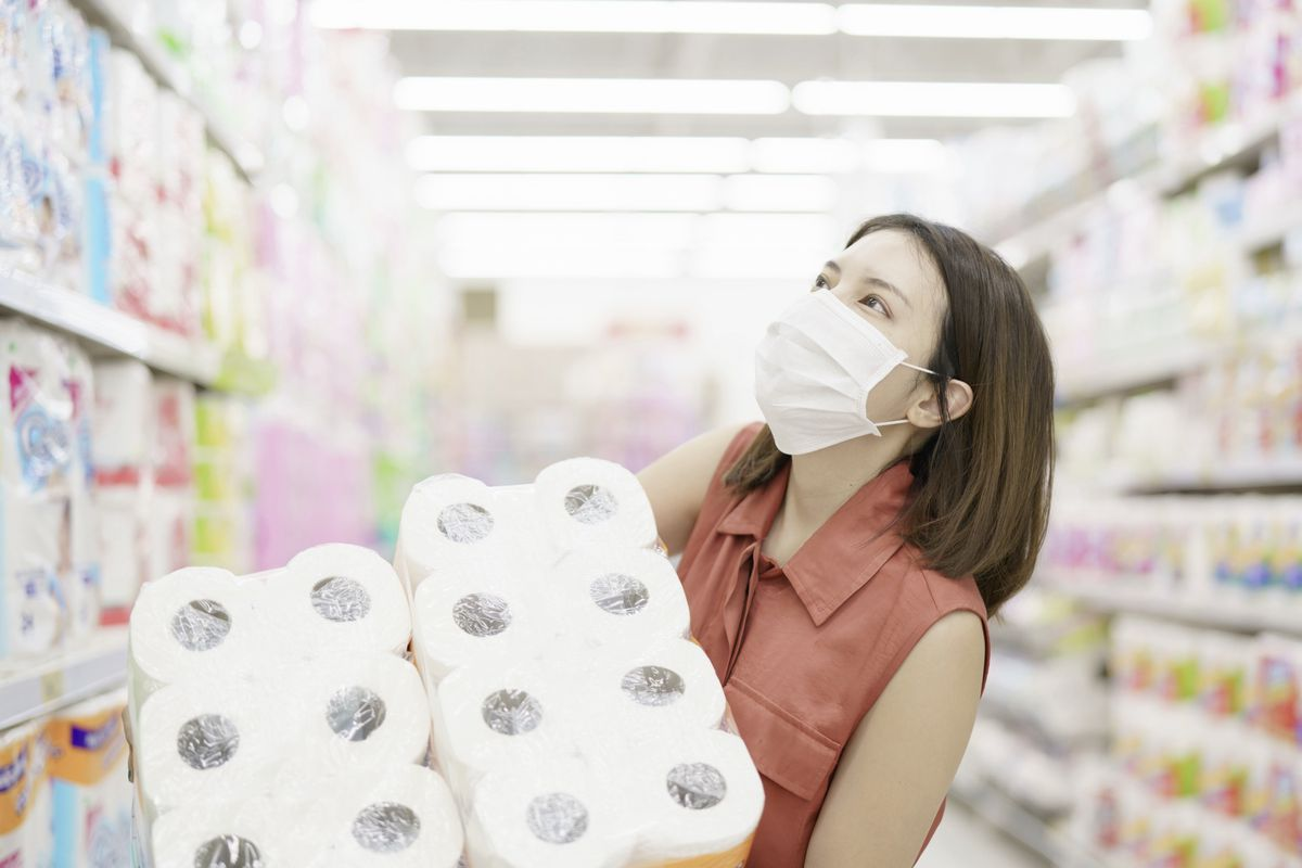 Don't act like a doomsday prepper, leaving the shelves bare for the vulnerable who can't stretch their pension to go long on toilet rolls. (MBLifestyle/Shutterstock)