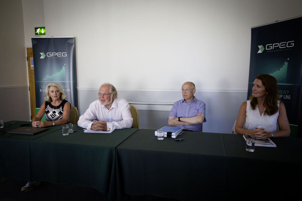 Left to right: Gpeg members Connie Helyar-Wilkinson, Lord Digby Jones, Jon Moulton, Susie Crowder at their press conference. (Picture by Cassidy Jones, 29781913)