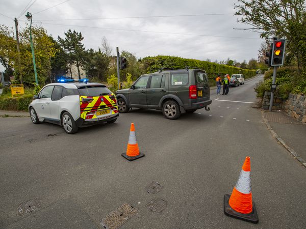 Picture by Guernsey Press.  03-05-21.  RTC / RTA on Rectory Hill, Castel.  Motorbike and Bus.  All 3 emergency services attended. NOT FOR SALE. (29519468)