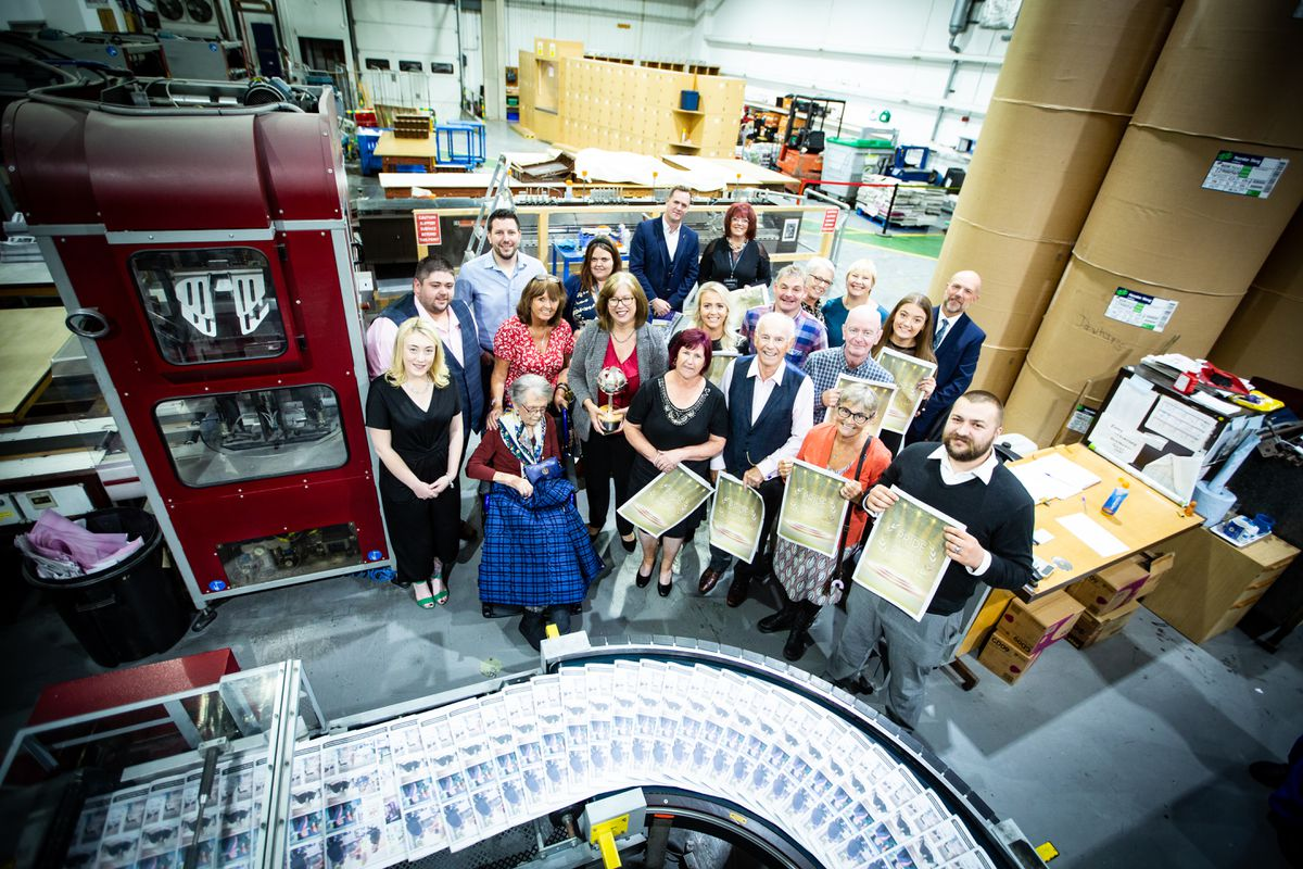 All of the winners of this year's Pride of Guernsey awards were invited onto the Press floor to watch the printing of the special awards night supplement. (Picture by Peter Frankland, 28761453)