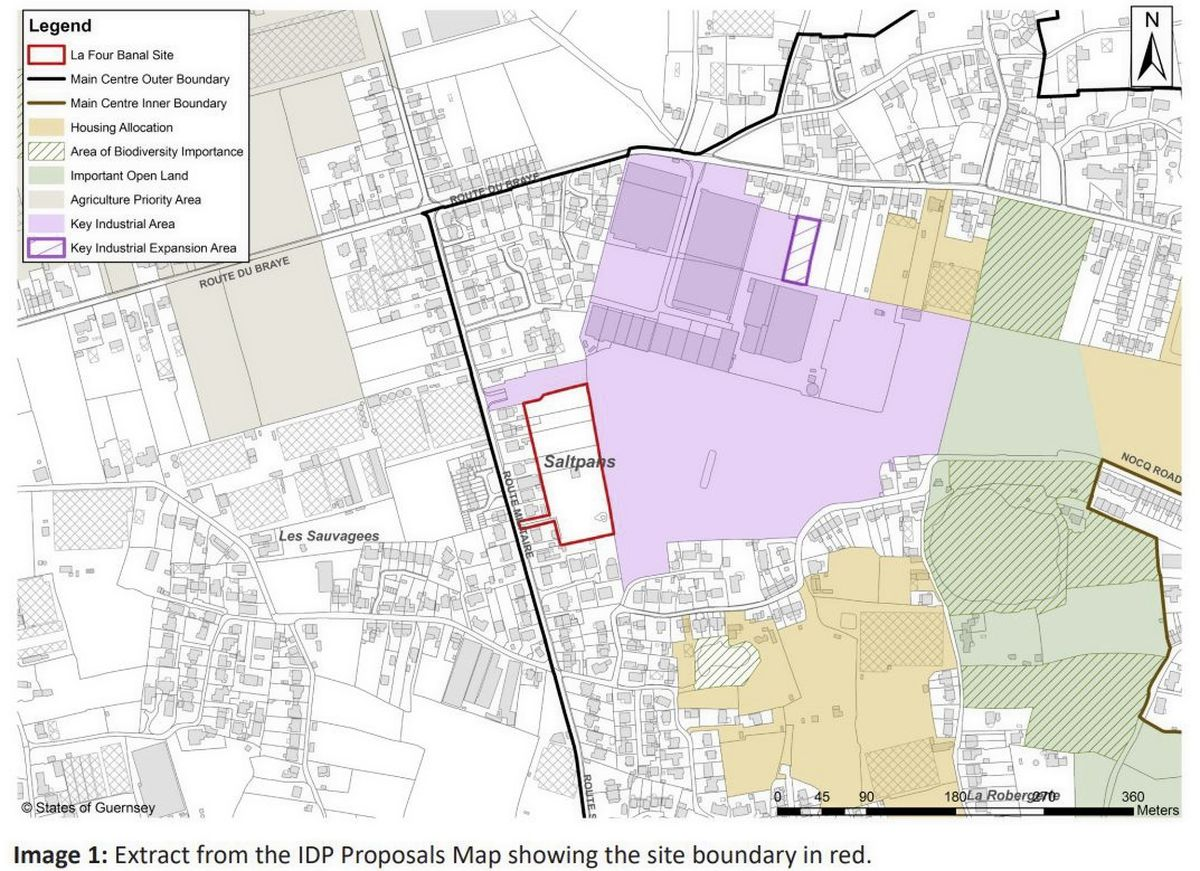 Image from the IDP proposals map showing the Four Banal site boundary in red.