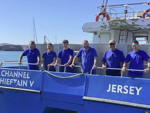 The crew aboard the Channel Chieftain V. Left to right: Ben Langford , Corbin Boudin, Milton Kerfoot, Dave Martin, David Nuth and Rob Ovenden. (Picture supplied by Iris Freight Channel Islands)