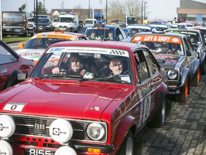 Pic by Adrian Miller 29-02-20.Les Beaucamps High School.Six children from Le Rondin School see the first cars off as they start Guernsey Rally 2020.. (28972384)