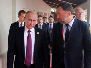 The Trump administration in the US has ordered tough sanctions against seven Russian oligarchs including aluminium magnate Oleg Deripaska – pictured with Russia's President Vladimir Putin – and his companies, three of which are registered in Jersey