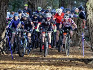 James Roe (centre) bolts from the Le Guet start line in round four of the Guernsey Velo Club's MTB Winter Cross-country series. 