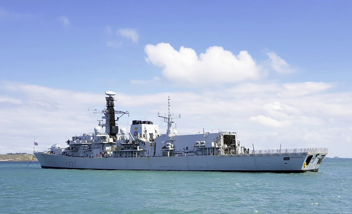 HMS Westminster anchored off St Peter Port. (Picture by Tony Rive, 29443851)