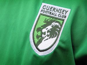 Pic by Tom Tardif 08-07-11. Garenne Stand, Foote's Lane, St Peter Port. The official new Guernsey FC Football kit has been 'unveiled' today. The new Logo on the shirt..REF: IMG_9600.JPG ..GFC... (28524836)