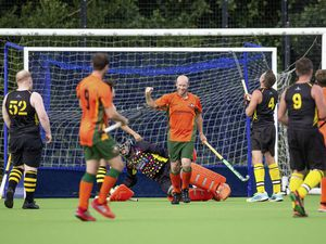 Guernsey Hockey - Independents v Casuals, Mens Division One at Footes Lane. Steve Waldrom scores.Picture by Martin Gray, www.guernseysportphotography.com, 11-09-21. (29978921)