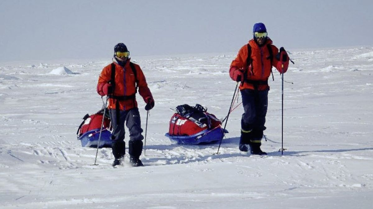 Drs Gareth Andrews and Richard Stephenson on a previous polar expedition. Their previous polar ventures have been leading up to the Last Great First - the first unsupported ski crossing of Antarctica. (28801628)