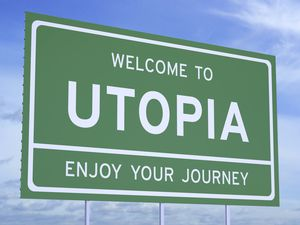 Welcome to Utopia concept on road sign (29461577)