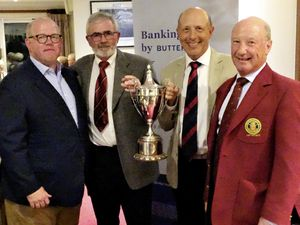 GOLF Butterfield Open Foursomes Stableford hosted by Royal Guernsey Golf Club at L'Ancresse. Left to right: Ed Jones of Butterfield, winners Barry Hince and Nick Graham, and RGGC captain Peter Radford..Picture by Gareth Le Prevost, 24-04-21. (29477526)