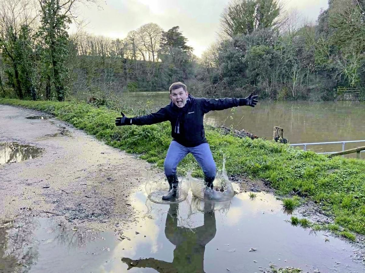 Gary Burgess taking part in the Jumping in Puddles campaign to raise money for Cancer Research UK. Image supplied. (29107443)