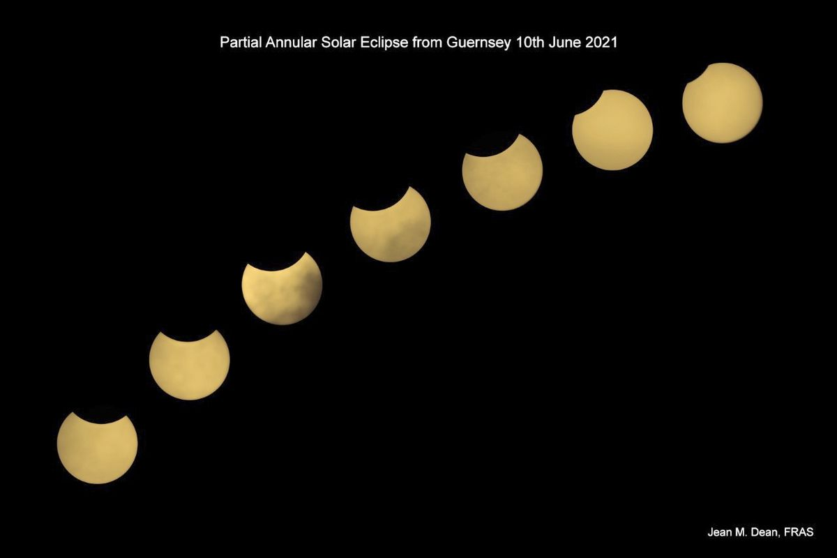 Jean Dean's image of the partial solar eclipse sequence from Guernsey on 10 June 2021. (29644092)