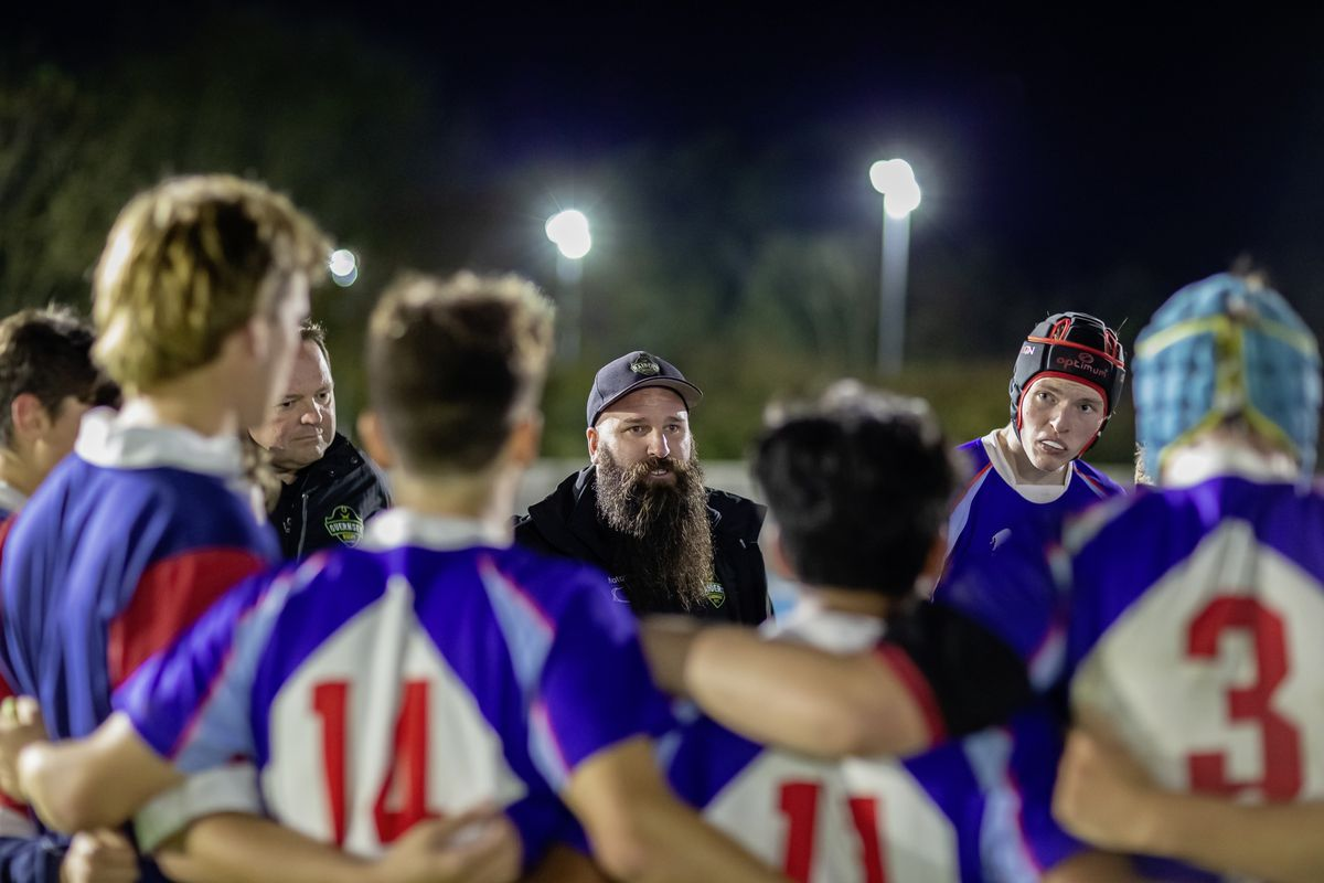 Younger audience: Jordan Reynolds addresses the Elizabeth College Rugby 1st XV at Footes Lane under the lights. (Picture by Martin Gray, 28811157)