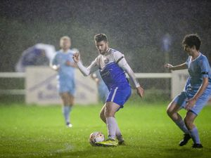 Rovers' match-winner Blair Howitt on the ball in a heavy shower during their win at Northfield. (Picture by Sophie Rabey, 28770943)