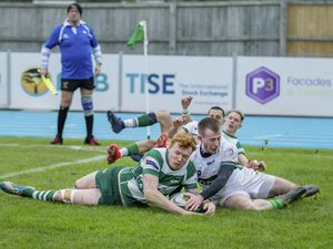 Guernsey Raiders v London Irish Wild Geese. Matt Armstrong try.www.guernseysportphotography.com .London & South-East Premier Rugby at Footes Lane. Picture by Martin Gray, 25-01-20.. (26991665)