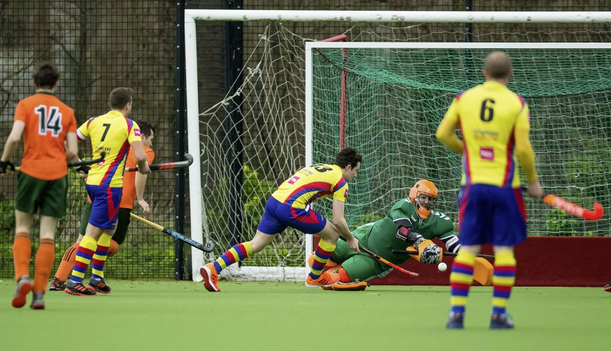 Hamish Glass scoring the winner for Colombians against Indies. (Picture by Martin Gray, 27394694)