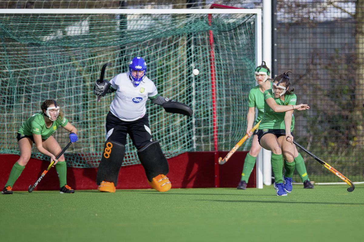 Guernsey defender Kelley Cameron takes evasive action at a Teddington penalty-corner. (Picture by Martin Gray, 26677264)
