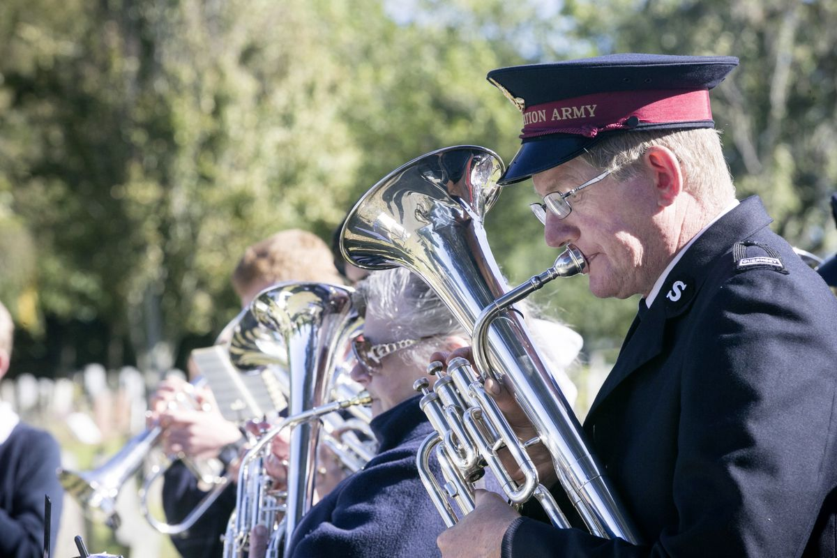 Pic by Adrian Miller 27-09-20 Foulon Cemetery. Remembrance service for H.M.S. Charybdis and H.M.S. Limbourne . Salvation Army Band. (28735053)