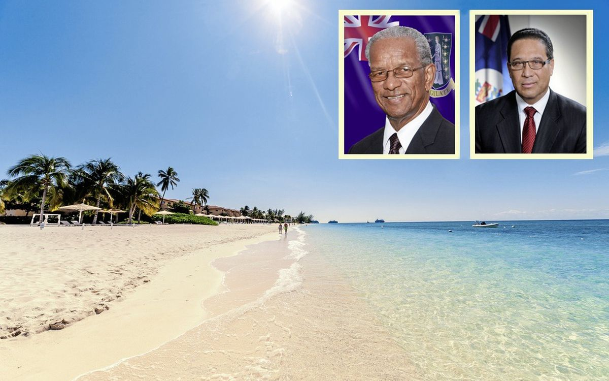 British Overseas Territories, including the Cayman Islands, pictured, will have to comply with the UK Parliament directive to produce public beneficial ownership registers by 2020. Inset, left to right: British Virgin Islands premier Orlando Smith and Cayman Islands premier Alden McLaughlin.                                                                                                                                                (21354953)