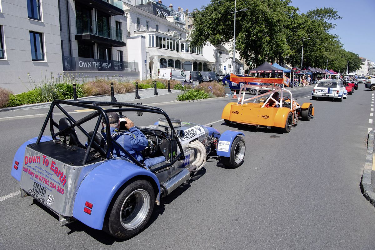 Competitors return to the pits during Saturday's Guernsey Motorcycle & Car Club hill climb at Le Val des Terres. (Picture by Andrew Le Poidevin, 29775438)